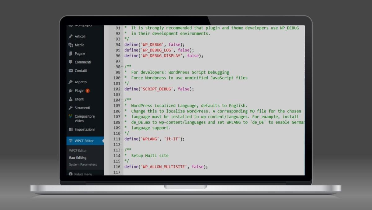 Modificare il file wp-config.php direttamente dal pannello di WordPress