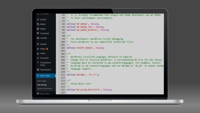 Modificare il file wp-config.php direttamente dal pannello diWordPress